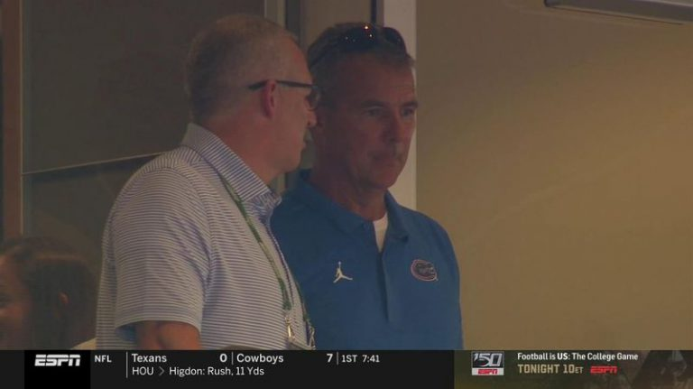 Former UF football coach Urban Meyer showed up at the 2019 season opener against Miami wearing a Gators shirt