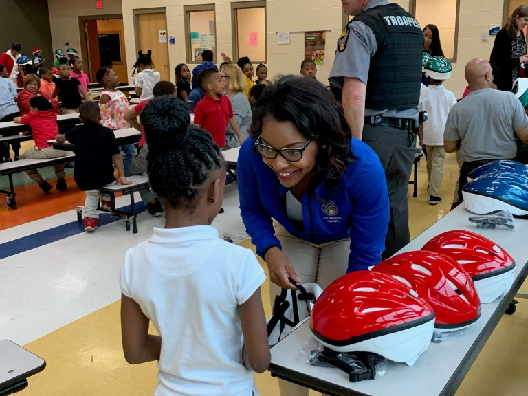 One of the initiatives that remains close to Emilia Sykes' heart is her annual bike helmet giveaway.